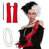 Peluca Corta Ondulada de Color Negro y Blanco Disfraz de Halloween...