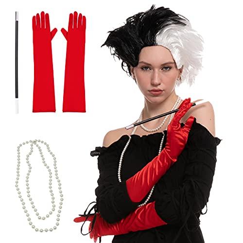 Peluca Corta Ondulada de Color Negro y Blanco Disfraz de Halloween Mujer Curel Devil, con Guantes, Boquilla de Cigarro y Collar, Halloween Cosplay