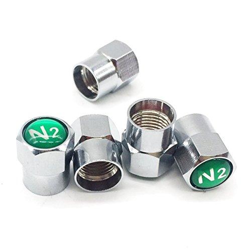 Godeson Ventilkappen für Reifenventil, verchromtes Messing, mit N2-Epoxid-Kuppel, 5 Stück/Set (inklusive 1 Ersatzstück)