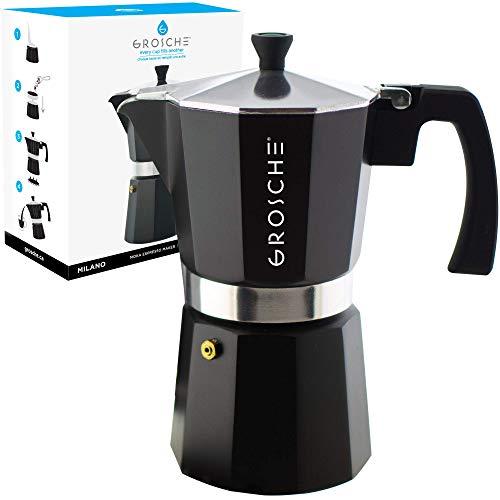 GROSCHE Milano Stovetop Espresso Maker Moka pot 12 espresso Cup - 23.6 fl oz, Black, Cuban Coffee Maker Stove top coffee maker Moka Italian espresso greca coffee maker brewer percolator