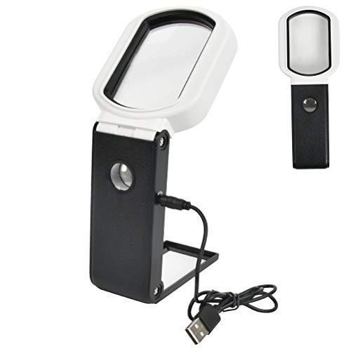 QLOUNI quadratische Leselupe mit 9 LED Licht Handlupe, 85x55mm, Vergrößerungsglas zum Lesen, Kleingedruckten, Inspektion, Münzen
