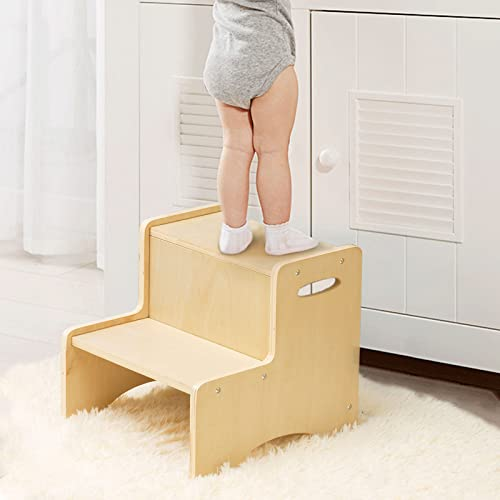 Wooden Toddler Step Stool for Kids, WOOD CITY Bathroom Potty Stool & Kitchen Stool, Two Step Stool for Bedroom, Children's Stool with Handles and Safety Non-Slip Pads