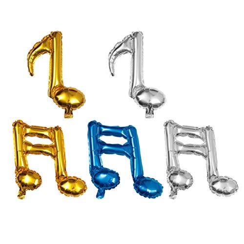 STOBOK 10 Piezas Globos de Notas Musicales Papel de Aluminio Guirnalda de Música Globos de Fondo Oro Plata Azul Fiesta Decoración de Globos Suministros para Cumpleaños Eventos de Boda