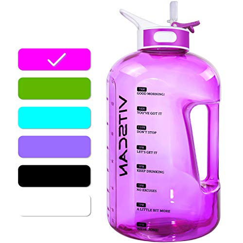 1 Gallon Water Bottle with Straw Motivational Water Bottle with Time Marker, Large Water Bottle 128 Oz Water Bottle, Big Water Jug for Sports Water Bottles (Pink)