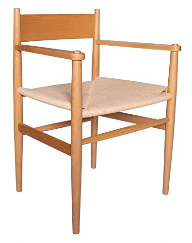 """Amazon Brand – Stone & Beam Mid-Century Dining Chair with Arms, 21.9""""W, Beech Wood, Natural"""