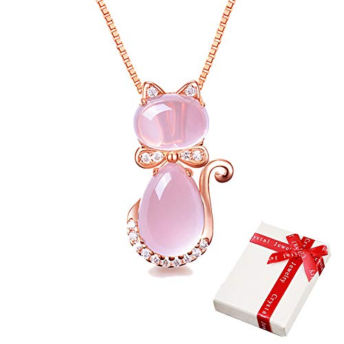 Collier dames pendentif rose avec strass pour les...