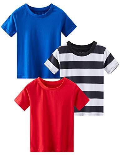 Spring&Gege 3 camisetas cortas de color liso para niño