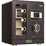 GAGP Caja Fuerte Inicio pequeña Caja Fuerte de Oficina de Acero de 50 cm de Alta Seguridad Inteligente 3C Seguro Certificado para casa u Oficina (Color : Brown, Size : 50x35x40cm)