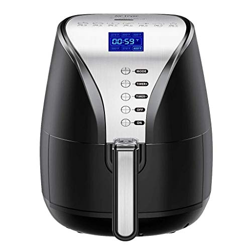 Digital Electric Air Fryer with Cookbook, Frying, Roasting, Baking, Crisping and Reheating for Healthier Faster Cooking - Kitchen Oven Large Cooker with LED, Auto Off, Nonstick Basket Fryers LCD Screen, Suitable for Dishwasher