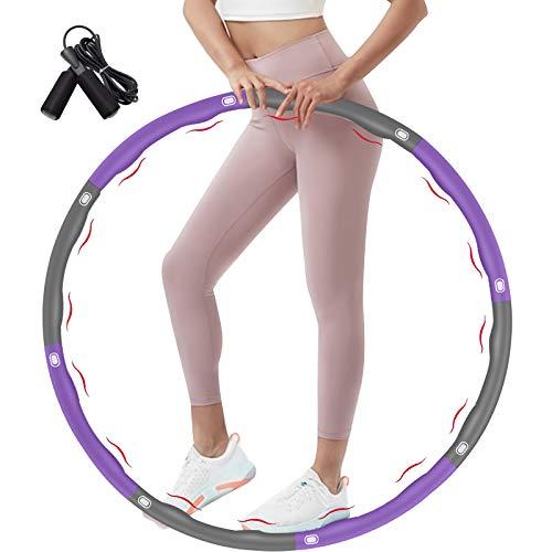 DUTISON Hula Reifen Hoop, Hula Reifen für Erwachsene & Kinder zur Gewichtsabnahme, 6-8 Segmente Abnehmbarer Fitnessreifen Hula Kreis Reifen Hoop mit Seilspringen
