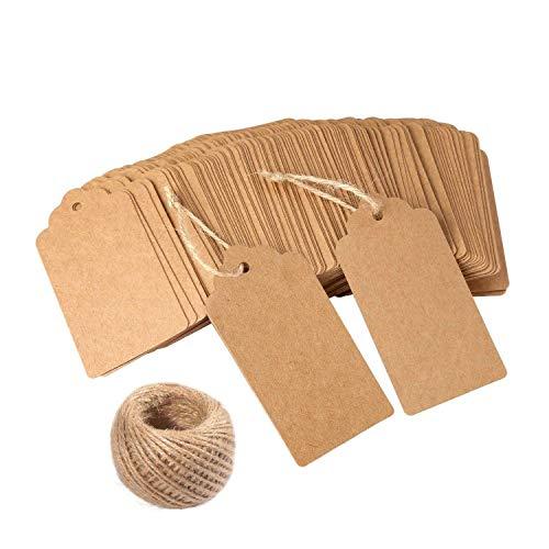 120 etiquetas regalo de papel Kraft para bricolaje (ideales para bodas), de color marrón, tamaño rectangular, para colgar; incluye yute natural (30m)