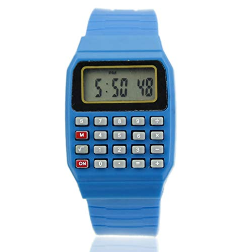 PENG Fad Niños Silicona Fecha Multiuso Niños Calculadora electrónica Reloj de Pulsera