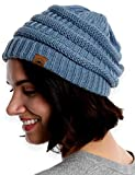 Tough Headwear Womens Beanie Winter Hat - Warm & Chunky Cable Knit Hats - Soft Stretch, Thick & Cute Knitted Stocking Caps for Cold Weather - Stylish & Trendy Snow & Ski Beanies for Ladies Light Blue