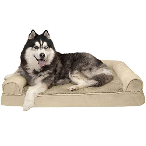 Furhaven Pet Dog Bed - Memory Foam Ultra Plush Faux Fur and Suede Traditional Sofa-Style Living Room Couch Pet Bed with Removable Cover for Dogs and Cats, Clay, Jumbo