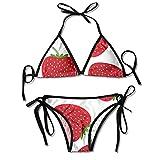 PRAHUCE Women's Bikini Swimsuit Triangle Top and Tie Side Strawberry Printed Bikini Set Bathing Suit Swimwear