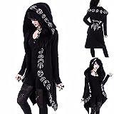 Chaqueta con capucha para mujer, estilo gótico, para otoño, talla grande, punk, color negro, con estampado de luna, para Halloween, carnaval, para el tiempo libre, 1 negro, M