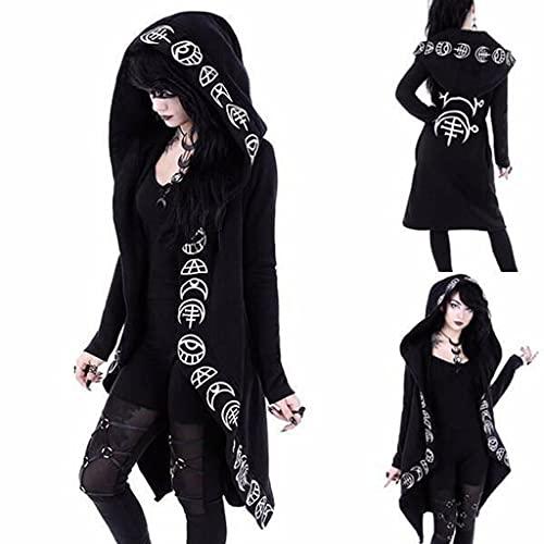 Chaqueta con capucha para mujer, estilo gtico, para otoo, talla grande, punk, color negro, con estampado de luna, para Halloween, carnaval, para el tiempo libre, 1 negro, XXXXL
