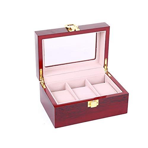 Caja para 3 relojes con ventana de cristal para guardar relojes de pulsera, caja de madera, organizador con funda transparente
