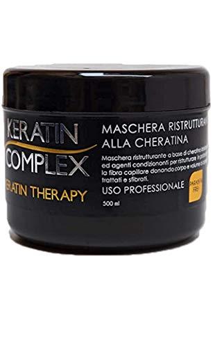 Maschera ristrutturante Keratin Therapy alla cheratina per uso professionale 100% made in italy senza parabeni 500 ml rinforzante ricostruzione per tutti tipi di capello trattati e sfibrati 413