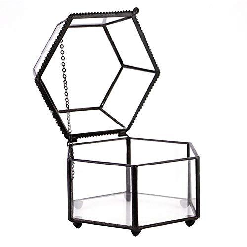 circulor Schmuckschatulle Glas, Glas-Terrarium Blumenkasten, Sechseitig, Für Sukkulenten Luftpflanzen Halter Für Hochzeit Couchtisch Schwarz