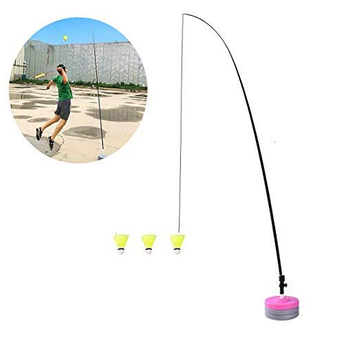 MeTikTok Komplette Badminton-Sets, Tennis Netto-Trainer Potable Teleskop Elastic Rod Selbststudien Zugstufe Power Base Üben Set Für Badminton Learners