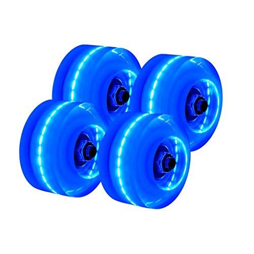 TIREOW 4 StÜcke Leuchten Auf Quad Rollschuhe Rollschuhräder 32 mm x 58 mm, Leuchtende Quad Rollschuhe Vier Beleuchteten Rollen Mit Eingebauten Lagern (Blau)