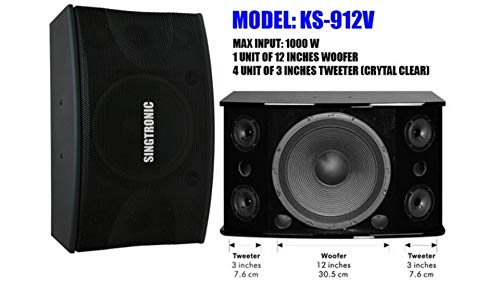 Best Bargain SINGTRONIC KS-912Pro Professional Vocalist 2000W Karaoke Speaker (Pair)