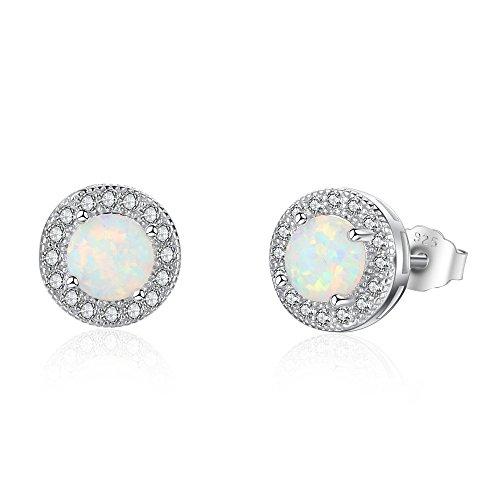 925 Sterling Silber Ohrringe Damen Ohrstecker Opal mit 3A Zirkonia Ohrschmuck Ohrringe für Frauen Mädchen