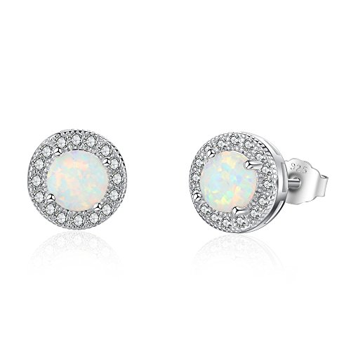 Fu You 925 Sterling Silver Earrings Womens Stud Earrings Opal Birthstone Studs with Cubic Zirconia Earrings for Women Girls