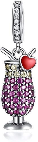 Charm New 2022 MariaFonte Cocktail Drink Bicchiere Calice Portafortuna Oro Argento 925 Ciondoli Originale Offerte Charming Beads Set Amicizia Mamma Bead Compatibili Cuore Famiglia Perline Natale Donna