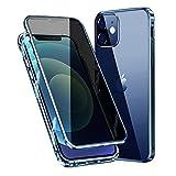 MOSSTAR Funda para iPhone 12, Carcasa Anti-Espía 360 Grados Protección [Vidrio Templado de Privacidad Incorporado] Adsorción Magnética Metal Bumper Cubierta Transparente para iPhone 12,Azul