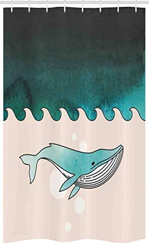 ABAKUHAUS Wal Schmaler Duschvorhang, Fisch Schwimmen U-Boot, Badezimmer Deko Set aus Stoff mit Haken, 120 x 180 cm, Benzinblau Türkis Creme