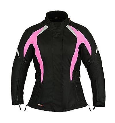 GearX Chaqueta de moto para mujer Protección impermeable Chaqueta para mujer Moto, Rosa, XL