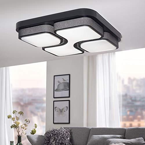 WOHNLING Design LED-plafondlamp GEOMETRIC plafondlamp zwart 32W A+ 53x9x53 cm | Design lamp 2720 lumen warm wit | Lamp metaal met 3 lichtvelden IP20
