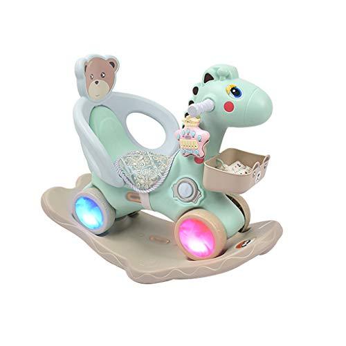 Cavalli a dondolo FJH Leggero per Bambini in Legno a Doppio Uso Guardrail plastica di Grande Spessore con Regalo per motorino di Musica 85 * 39 * 50cm ( Color : Light Green )