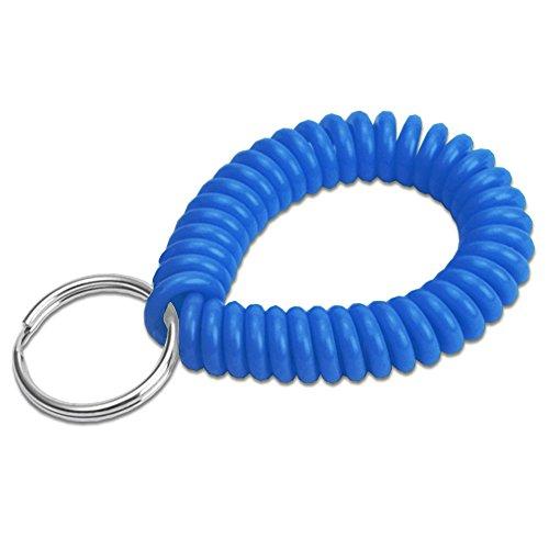 Lucky Line Bobina de pulso em espiral de 5 cm de diâmetro com chaveiro de aço, bracelete flexível para chaveiro, estica até 30 cm, azul, 1 pacote (410351)
