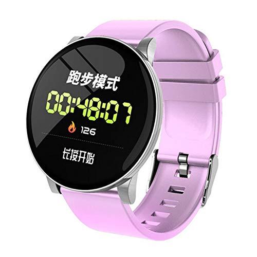JXFF W8 Smart Watch Redondo Mujeres Impermeable Smartwatch Hombres Mujeres Fitness Tracker Ritero Cardíaco Monitor De Presión Arterial para Android iOS Reloj Inteligente,C