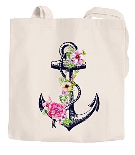 Jutebeutel Blumen Anker Flower Anchor Schultertasche Tragetasche Shopping-Bag Einkaufstasche Autiga® natur 2 lange Henkel