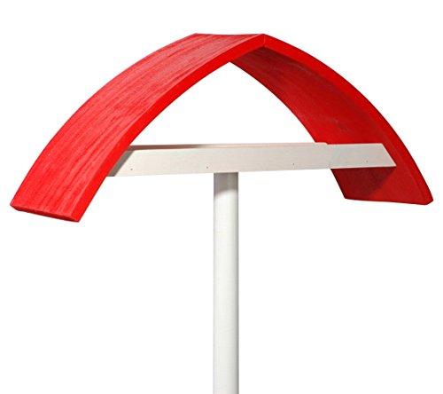 """Luxus-Vogelhaus 31022e Design-Vogelfutterhaus \""""New Wave\"""" in weiß mit rotem Dach inklusive Ständer (Gesamthöhe circa 183 cm)"""