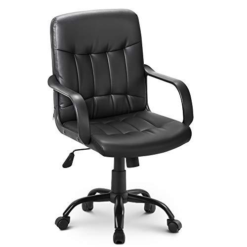 SUREN Drehstuhl schwarz Bürostuhl Kunstleder Schreibtischstuhl höhenverstellbar Chefsessel mit Laufrollen Bürosessel mit Armlehnen Ergonomischer Drehstuh