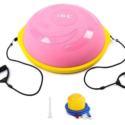 ISE BAS-1006 - Balón de entrenamiento con cables de resistencia y bomba de yoga, gimnasia, Core Training, fitness, rehabilitación BAS-1006 (rosa)