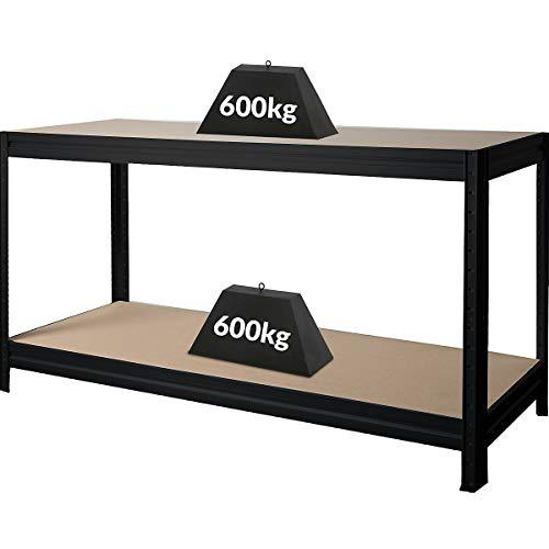 Höhenverstellbare Werkbank | HxBxT 870 x 1600 x 600 mm | Tiefe 60 cm | Traglast 600 kg | Werktisch Arbeitstisch Steckmontage Stahltisch | Schwarz