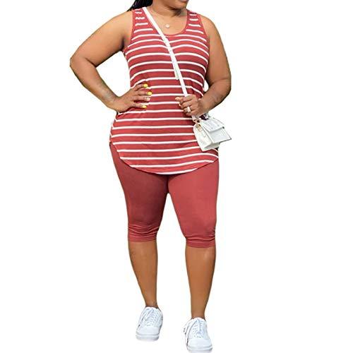 Women's Plus Size 2 Piece Outfit - Casual T-Shirts Workout Tracksuit Bodycon Capri Pants Suit Set Jumpsuit Rompers 244 Red XL