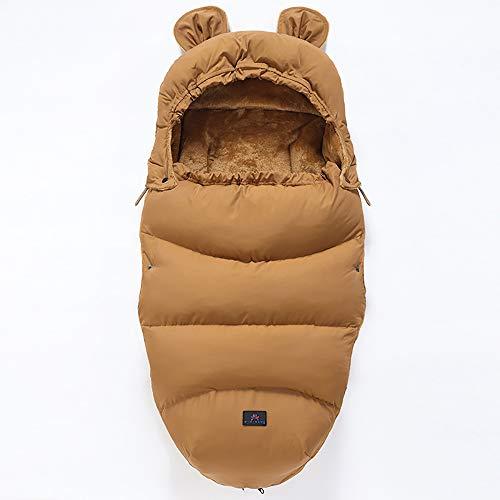 Saco de Dormir, Saco de Dormir Cochecito, bebé Saco de Dormir Patada a Prueba, espesante para Mantener el Calor y el frío, marrón 46 cm x 100 cm (sin Carrito),M