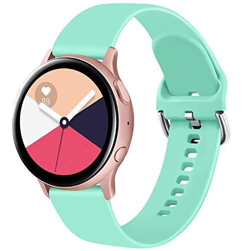 ZGCE Pulsera compatible con Samsung Galaxy Watch Active/Active2 40 mm/44 mm, 20 mm, silicona suave de repuesto para Samsung Galaxy Watch 42 mm/Galaxy Watch 3 41 mm (S,turquesa)
