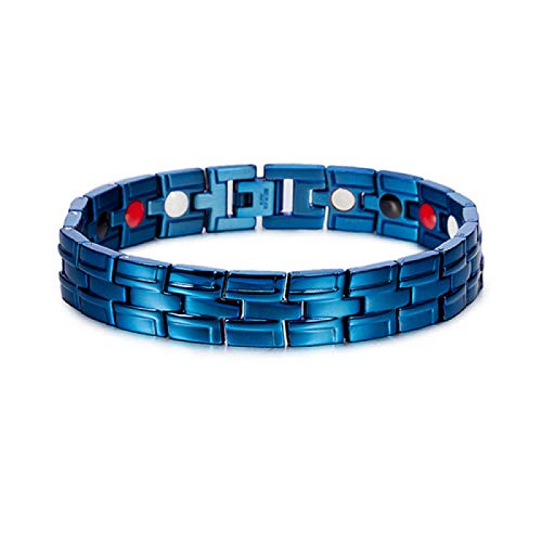 JPDP Men Stainless Steel Magnetic Bracelet Health Energy Magnetic Bracelet for Arthritis Blue Blue