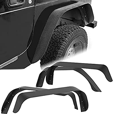 YITAMOTOR Steel Fender Flares Kit Compatible with 1997-2006 Jeep Wrangler TJ, Heavy-Duty Off Road Style Front & Rear Flat, 4 PCS