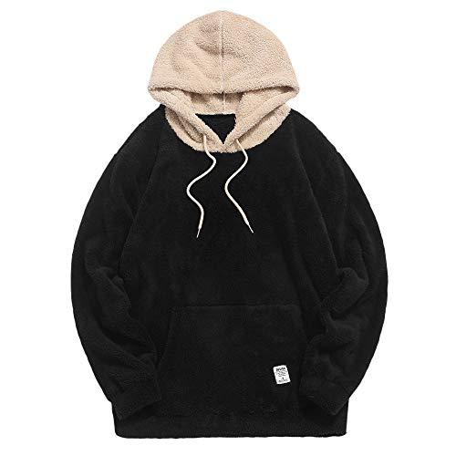 ZAFUL Herren Kapuzenpullover, Känguru-Tasche Plüsch Pullover Hoodie Sweatshirt für Herbst Winter (Schwarz-S)