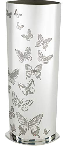 Large Pewter Vase for Flowers 250mm x 80mm with Bufferfly Pattern Design