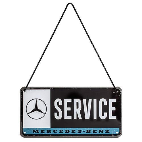 Nostalgic-Art Retro Hängeschild Mercedes-Benz Service – Geschenk-Idee für Auto Accessoires Fans, aus Metall, Vintage-Design zur Deko, 10 x 20 cm